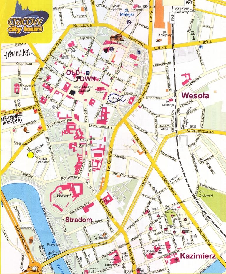 Mapa Krakov Mapa