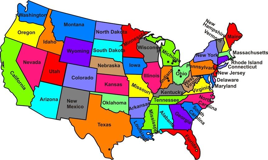 Americké spojené mapa státy Kolik mají