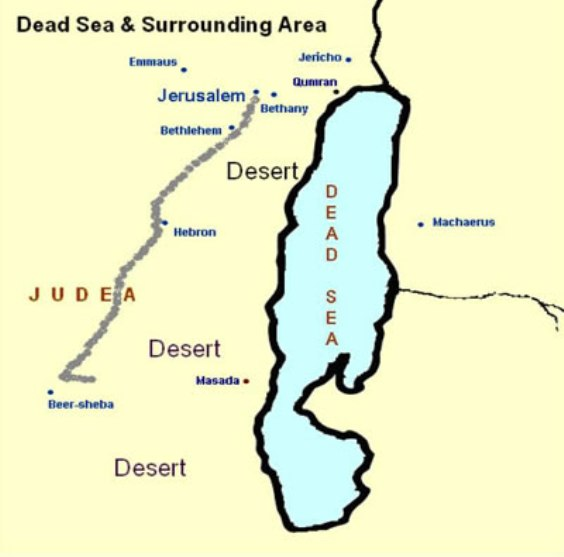 Judská púšť - mapa
