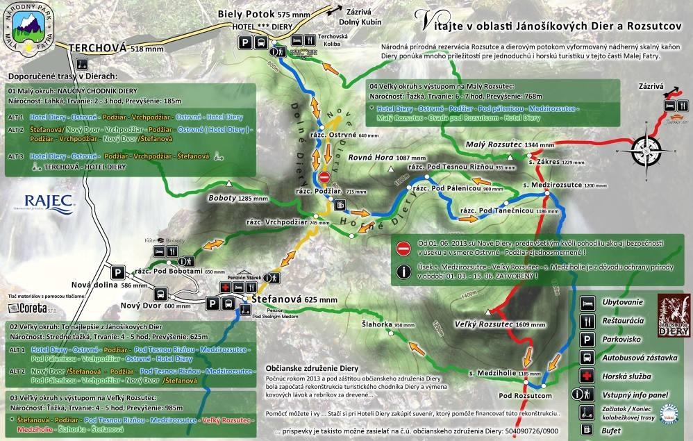 Mapa - Jánošíkove Diery a Rozsutce